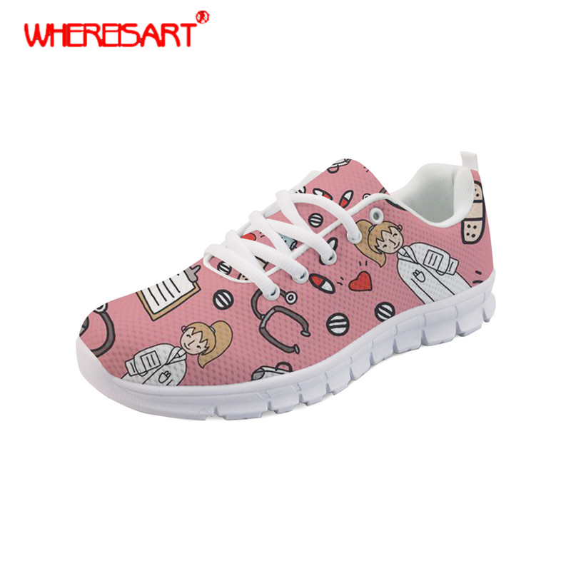 WHEREISART Ladies Nursing Shoes Women Cartoon Nurse Printing Sneakers for Females Lace-up Mesh Shoes Females Casual Zapatos image