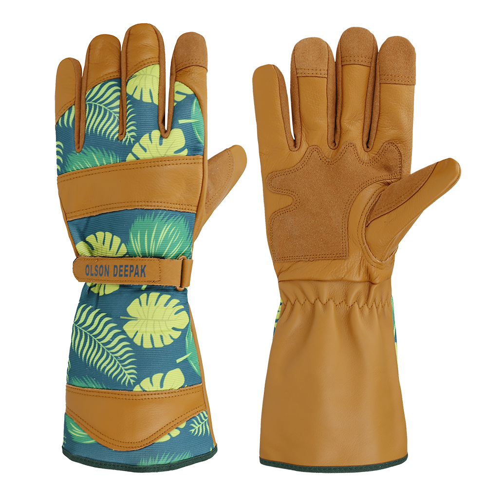 Ladies Gardening Gloves For Roses Pruning And Planting Womans Long Leather Working Glove Double Palm With Flower Pattern
