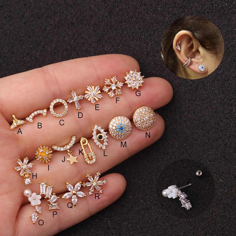 Sellsets 1Pc 20GสแตนเลสสตีลBarbellและทองแดงCubic Zirconia Ear Piercing Helixกระดูกอ่อนConch Rook Tragusต่างหู