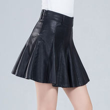 Women's Skirts Gothic Harajuku Faux Leather Korean Fashion Black Mini Pleated Skirts Party Pu Saias Punk Skirt