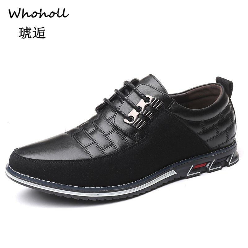 Whoholl 2019 New Autumn Leather Men Shoes Fashion Casual Shoes Lace-Up Loafers Business Wedding Dress Shoes Big Size 38-48