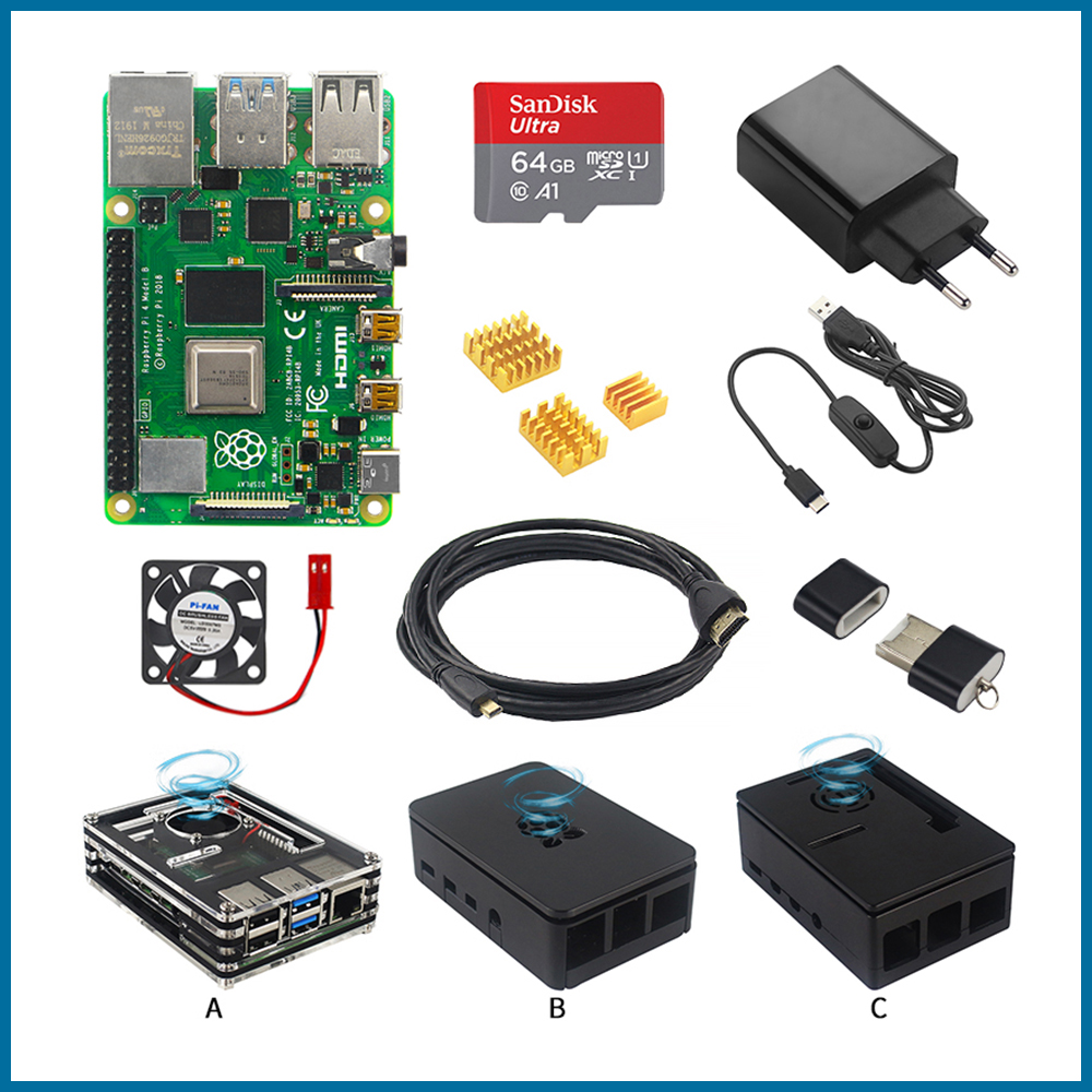 S ROBOT Raspberry Pi 4 Model B Starter Kit Case + Power Adapter + HDMI Cable + HeatSink + 64GB SD Card For Raspberry Pi 4RPI55