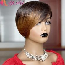 Short Pixie Cut Wig Omber Human Hair Wigs Brazilian Remy Hair P2/30 Color Full Mahine Made Human Hair Wig For Women Yepei Hair