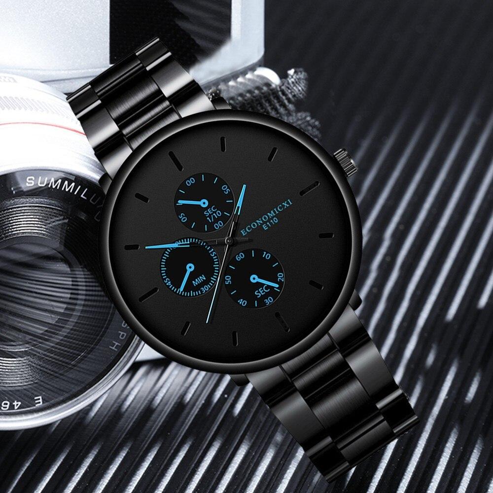 New Men Business Fashion Watch Men's Steel Belt Sport Quartz Wrist Watches Waterproof Boy Watch Para Hombre часы мужские FJSL
