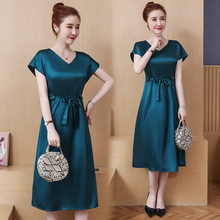 L 5XL Big Size Office Lady Party Loose Short Sleeve with belt sexy Plus Size Summer Black green Elegant Woman Cocktail dresses