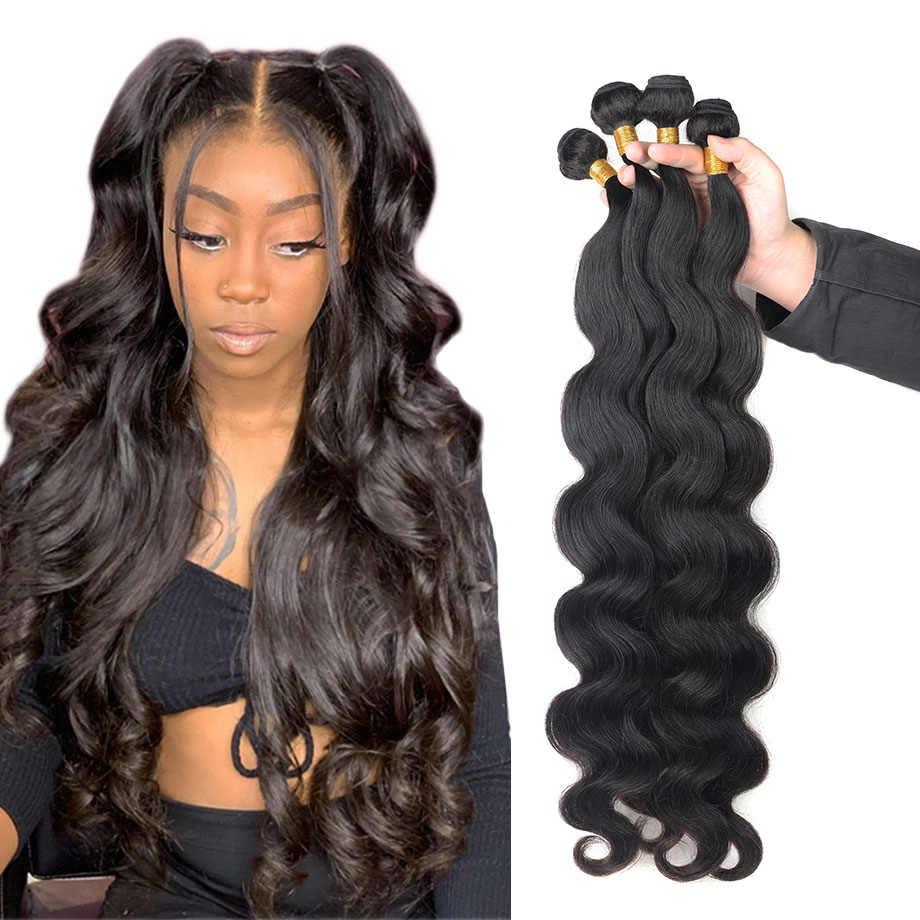 Vücut dalga demetleri insan saçı brezilyalı doğal siyah saç örgü 4 Remy İnsan saç demetleri fırsatlar siyah kadınlar için saç ekleme