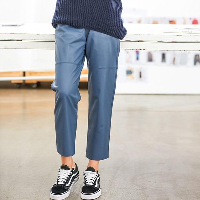 Women pants Real leather pants Women leather trousers high waist harem pants plus size 2021 new Elastic waist streetwear pants 2
