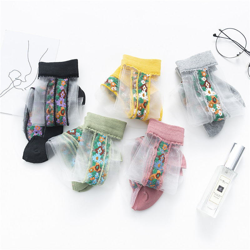 Spring Korean Style Fashion Flower Patterned Transparent Women Socks Thin Soft Breathable Casual Female Socks Hispter Sox
