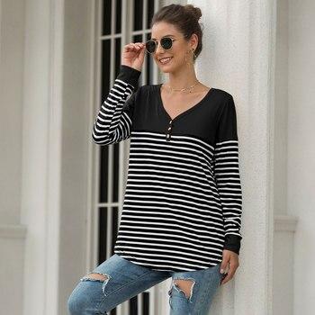 2019 moda damska długi rękaw, dekolt v Slim paski szwy T Shirt koszulka najniższy-shirt na co dzień Colorblock bawełniana bluza