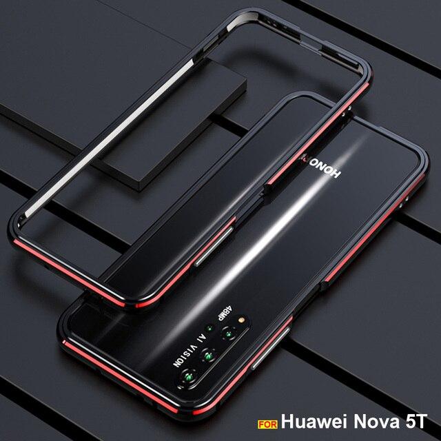 Voor Huawei Nova 5T Case Originele Luxe Glossy Aluminium Bumper Case Voor Huawei Nova 5T Cover Fundas Honor 20 20S Pro Metalen Frame
