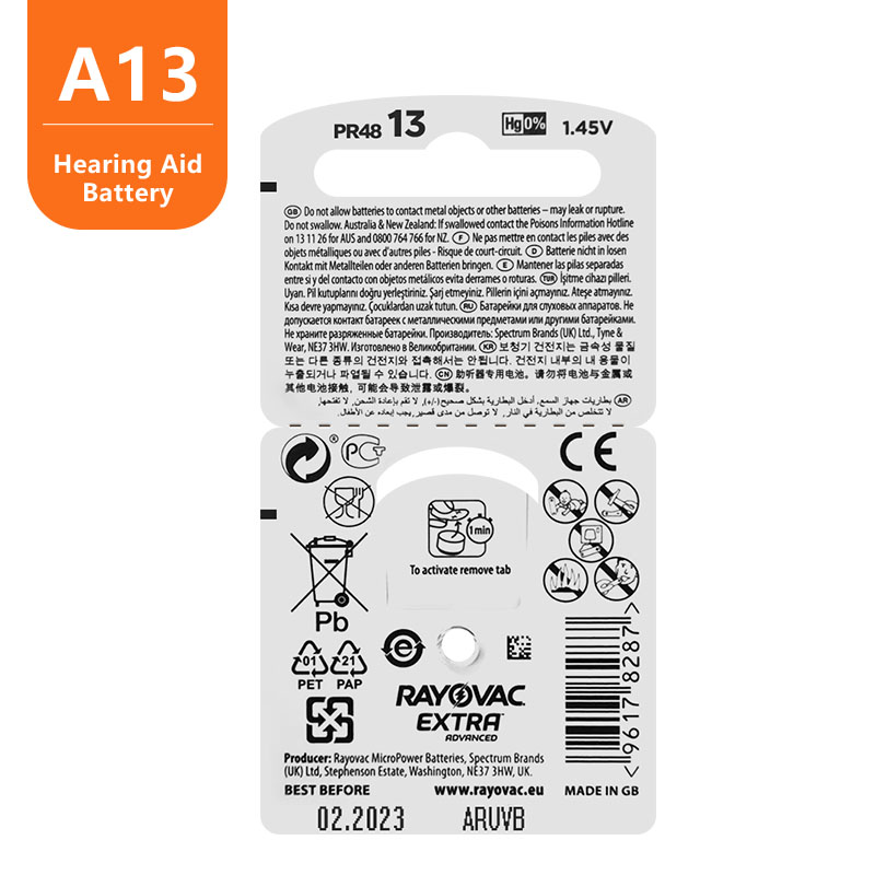 60pc Zinc Air Rayovac Extra High Performance Hearing Aid Battery,13 A13 PR48 Hearing Aid Batteries, Free Shipping !! 5