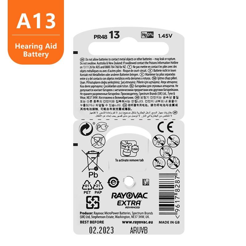 60pc Zinc Air Rayovac Extra High Performance Hearing Aid Battery,13 A13 PR48 Hearing Aid Batteries, Free Shipping !! 5