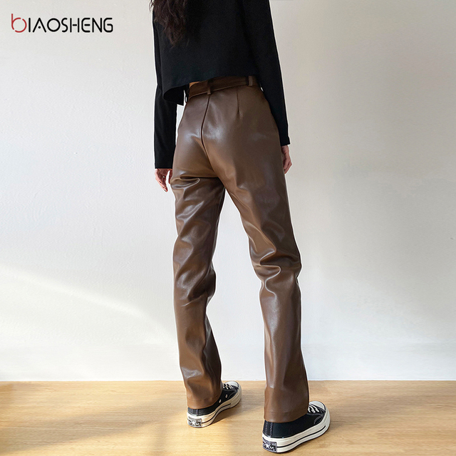 Faux PU Leather Pants For Women Trouser High Waist Straight Leg Pants Fashion Brown Casual Vintage Leisure Pants Streetwear 3