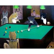 Diy картина по номерам комплект для животных маслом кошки Бильярд