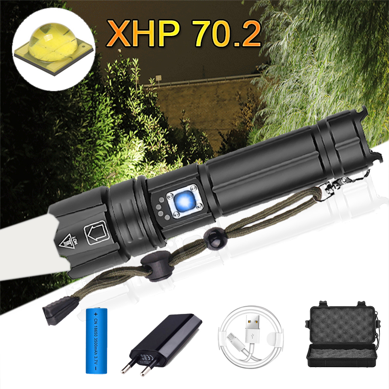 Super Powerful XHP70.2 LED Flashlight 26650 Flashlights XLamp XHP50 USB Rechargeable Tactical Light Use 18650 Zoom Torch