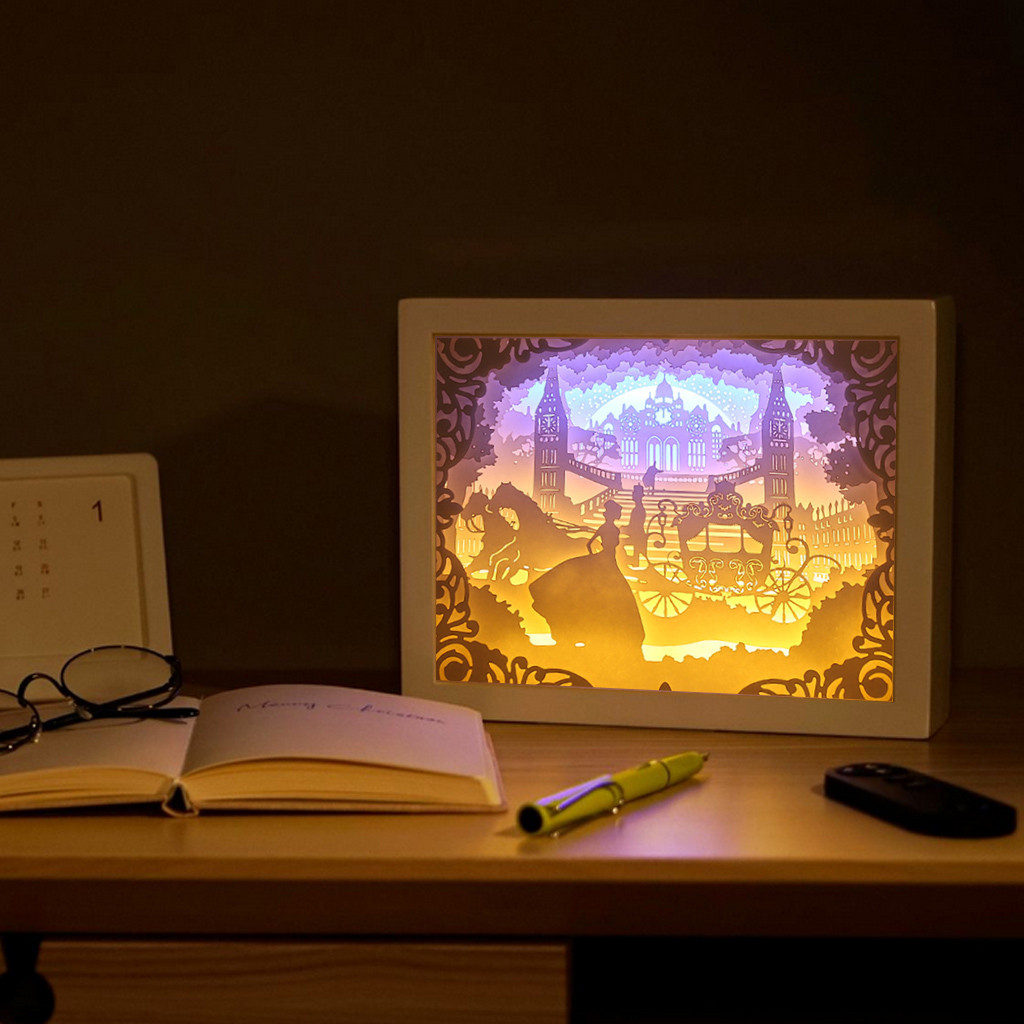Creative Art 1pc Shadow Paper Sculptures Light Paper-Cut 3D Night Light For Home Pattern Painting LED Table