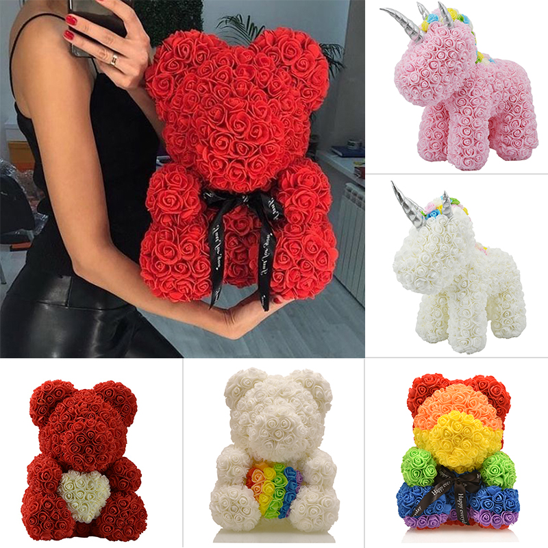 2020 Hot Sale 25cm 40cm Soap Foam Bear of Roses Teddy Bear Rose Flower Artificial New Year Gifts for Women Valentines Gift(China)