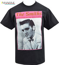MENS BLACK T-SHIRT THE SMITHS SHOPLIFTERS ELVIS PRESLEY ENGLISH MORRISSEY S-3XL Summer Short Sleeves T-Shirt Fashion