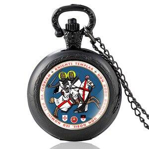 High Quality Black Crusader Knight Glass Dome Quartz Pocket Watch Roman Empire Crusader Necklace Pendants