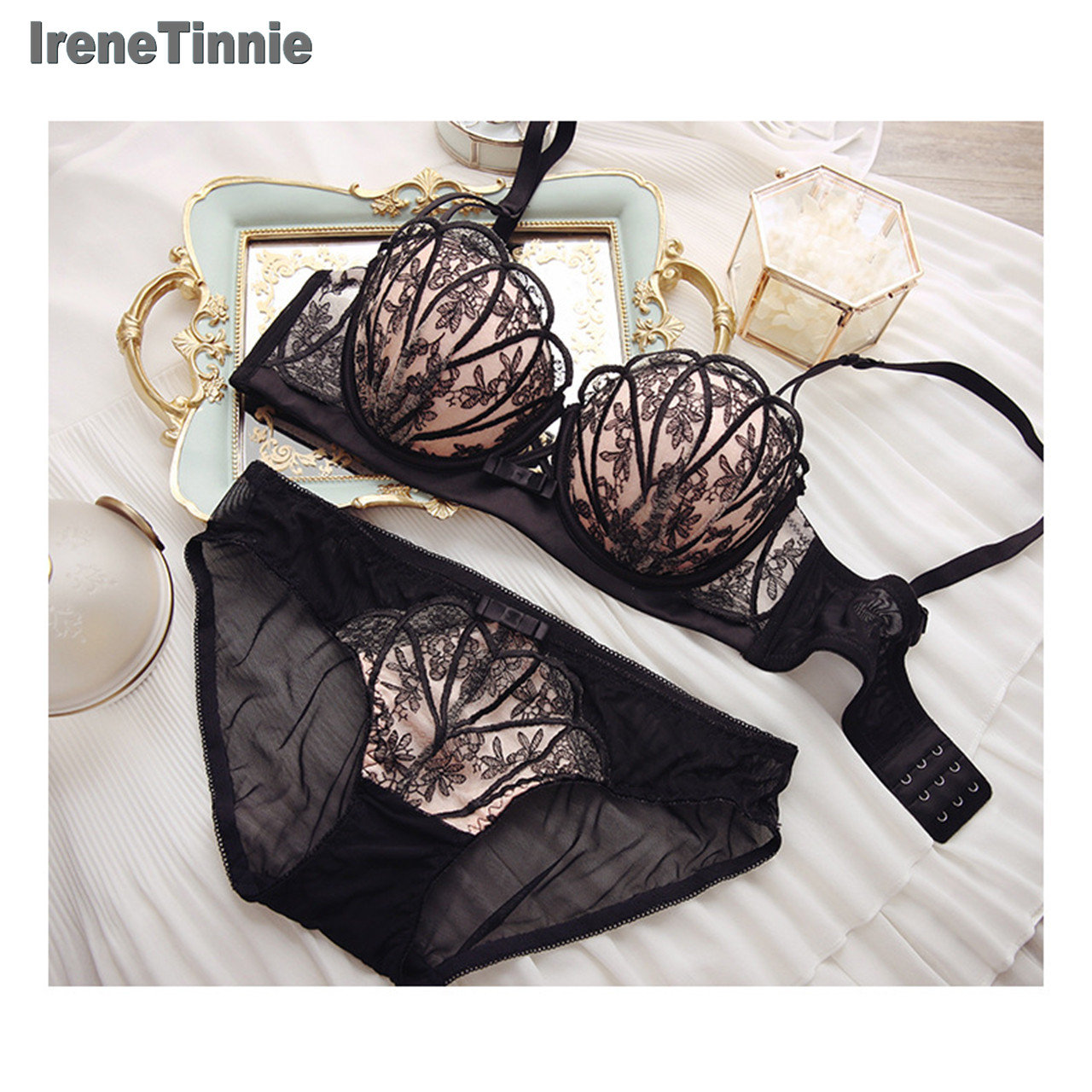 Irene Tinnie lingerie set thin embroidery push up bra set sexy lace underwear set Floral bras for women bra and panty set