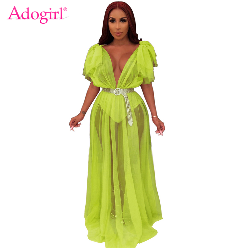 Adogirl Fluorescent Green Sheer Mesh Maxi Dress Ruffle Shoulder Sexy V Neck Robe Long Night Club Party Dresses Fashion Clothing