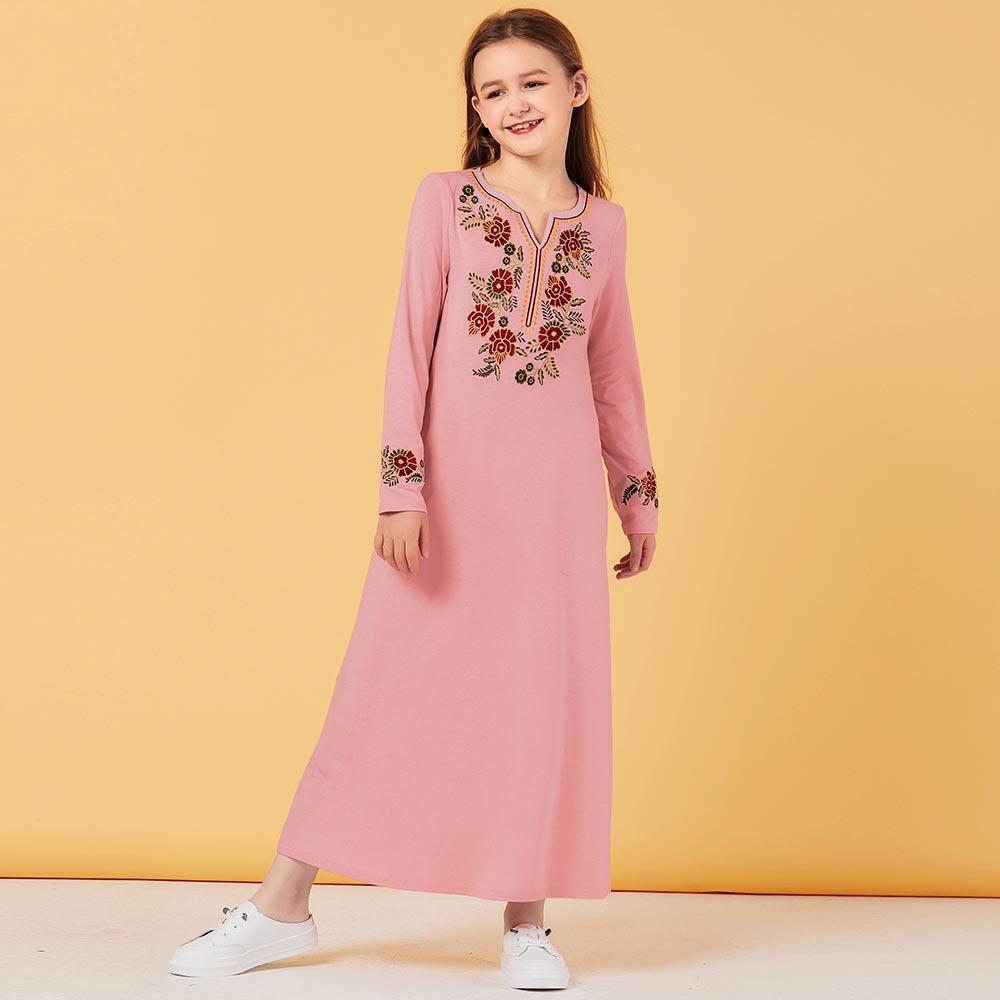 Sweat Muslim Girls Dress Floral Pockets Pink Moroccan Dresses Children Kids Kimono Islamic Clothing Dubai A-line Vestido Kaftan