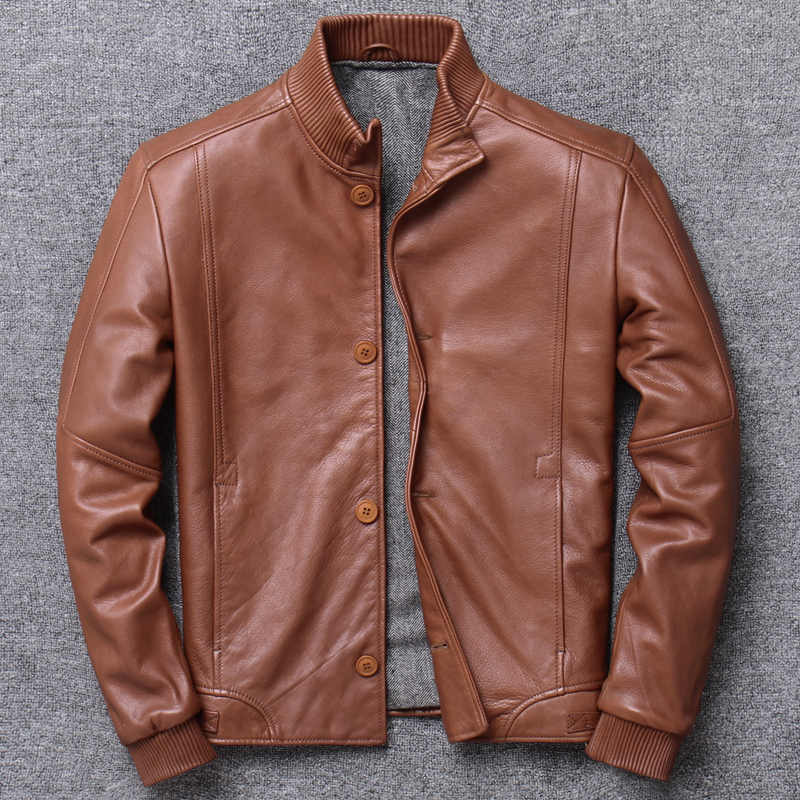 Genuine Leather Clothing Male Stand Lead Layer Cowhide Baseball Serve Jacket Youth Short Fund Handsome Loose Coat genuine