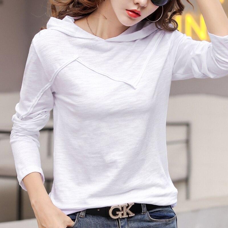 Korea Pink T Shirt Women 2019 Fall Hooded T-Shirt Casual Tshirt Woman Cotton Top Harajuku Soft Tee Female Long Sleeve Plus Size
