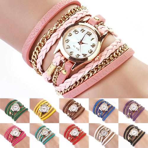 Wrist Watch Women Vintage Multilayer Faux Leather Alloy Braided Bracelet Wrist Watch Jewelry Women Quartz Watch Casual Watches