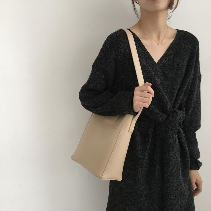 H2f014a9a459f493c9454341a0de2404dt - Winter Korean V-Neck Long Sleeves Knitted Dress
