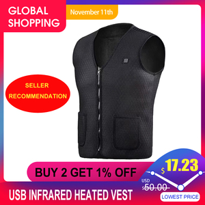 Image 1 - USB Infrared Heated Vest Outdoor Jacket Heated Women Mens Winter Jacket Electric Thermal Clothing Waistcoat For Sports Hiking