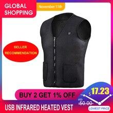 USB Инфракрасный жилет с подогревом уличная куртка с подогревом для женщин и мужчин зимняя куртка электрическая теплая одежда жилет для спорта и туризма
