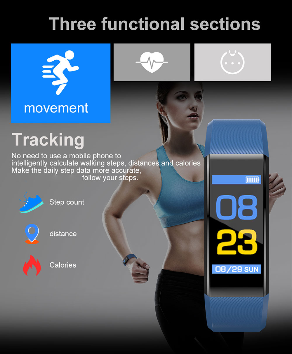 H2f01578549bf4505a2d24436e6bb1559E Smart Bracelet Watch for Men Women 115 Plus Smart Wristband Fitness Tracker Pressure Sport Watch Heart Rate Monitor Band A2