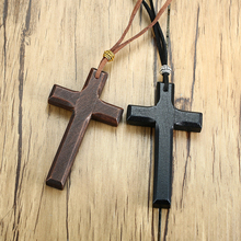 Vintage Wood Cross Crucifix Pendant Necklaces for Men Women Christian Gifts Jewelry with 90cm Rope Chain