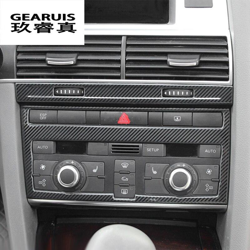 Diseño de coche fibra de carbono AIRE ACONDICIONADO Central CD Panel decorativo cubierta pegatinas ajuste para Audi A6 C5 C6 accesorios interiores