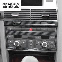 Samochód stylizacji z włókna węglowego klimatyzator CD Panel dekoracyjne naklejki pokrywa zgrabna dla Audi A6 C5 C6 akcesoria do wnętrz w Naklejki samochodowe od Samochody i motocykle na