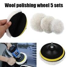 5pcs car polishing pad 3/4inch wool polishing wheel car sponge polishing discs kit for car Polisher Drill Adapter car detailing