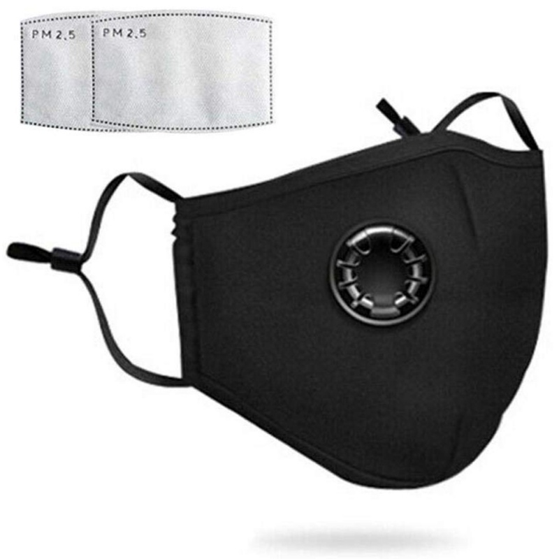 Mask With Valve Element To Prevent Pollution Adult Unisex Protective Fabric Dust Mask With 2 Pm2.5 Filter Elements