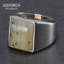 Real Pure 925 Sterling Silver Mens Rings Simple Turkish Rings For Men Rings With Stone Square Natural Onyx Minimalism Jewelry