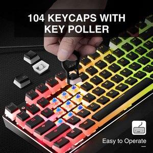 Image 5 - Havit hv Keycaps Doppio Colpo Retroilluminato PBT Budino Keycap Set con Estrattore compatibile con Cherry MX Tastiera Meccanica, in Bianco e nero