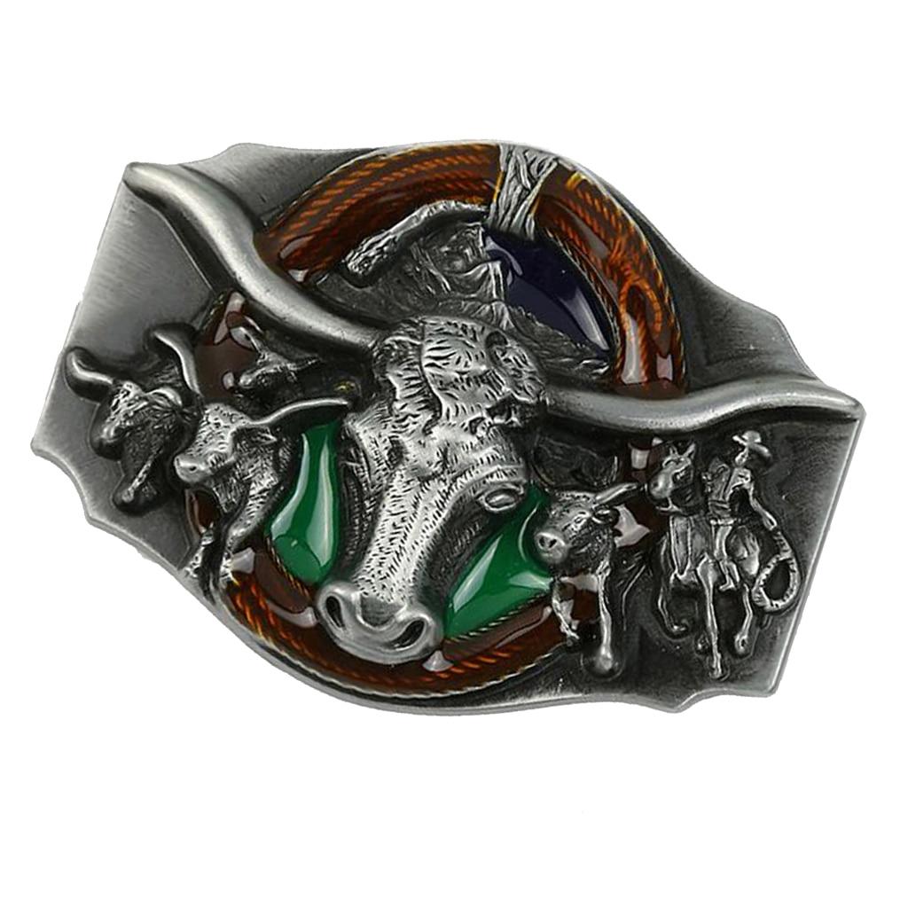 Vintage Bull Head Pattern Rodeo Belt Buckle Head Mens Western Cowboy Fit 3.6-3.9cm Belt Body Mens Accessories