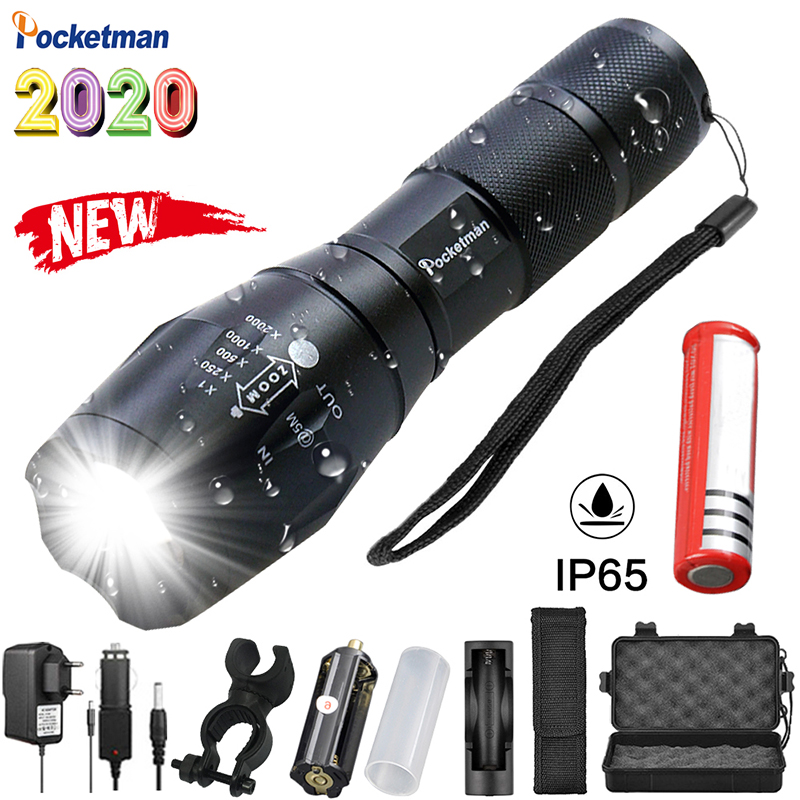 Most Powerful LED Flashlight High Power 5 Mode XM-L T6 L2 V6 Zoomable Rechargeable Focus Waterproof Torch 1*18650 Or 3*AAA
