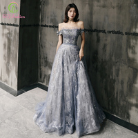 SSYFashion New Luxury Grey Evening Dress Banquet Elegant Boat Neck Sweep Train Sequins Appliques Long Formal Gown Vestidos