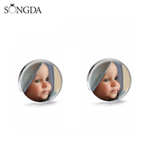 Stud-Earrings Letters Customized Photo Round Glass Portrait-Logo Birthday-Gift Best Family