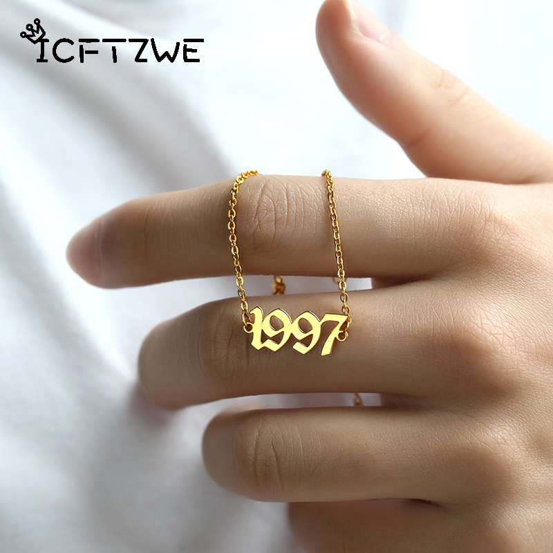 Stainless Steel Birth Year Anklets Gold Old English Year Number 1995 Anklet Bracelet Foot Chain Party Accessories For Kids Gift(China)