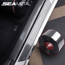 Auto Aufkleber Gummi Streifen Anti Scratch Tür Sill Protector Carbon Faser Auto Schwelle Schutz Stoßstange Film Aufkleber Auto Styling