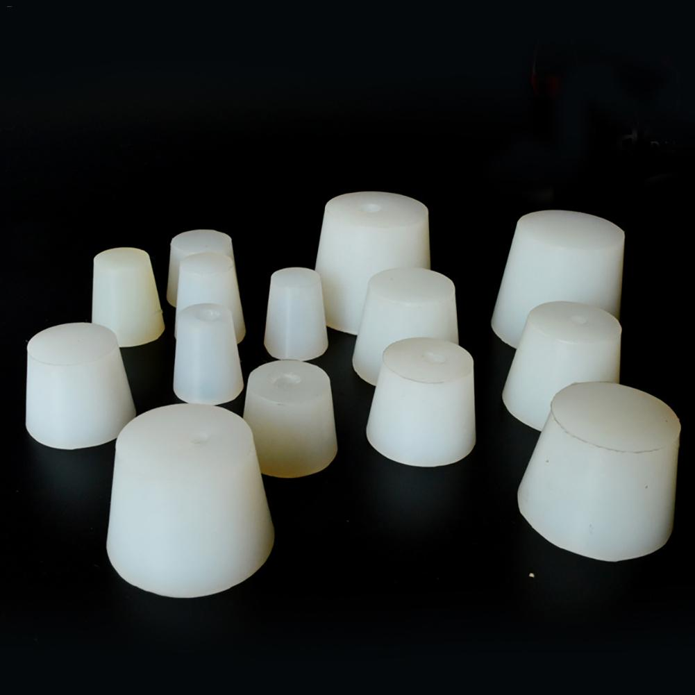 1Pcs Silicone Plug Stoppers With 8mm Hole For Airlock Valve Brew Wine Food Grade Silicone Rubber Stopper 13styles