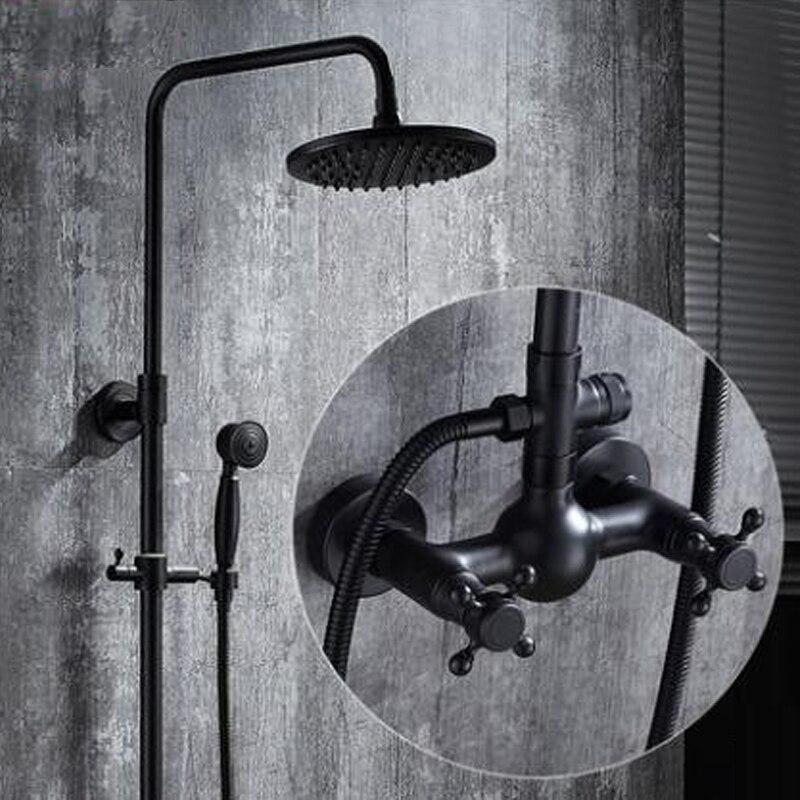 Dofaso europe antique qualité laiton bain pluie douche ensemble noir douche mélangeur complet cuivre salle de bains douche robinet mural