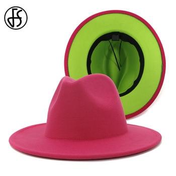 FS Rose Red Green Patchwork Women Unisex Panama Wool Felt Fedora Hats Ladies Wide Brim Party Trilby Cowboy Hat Fashion Jazz Cap
