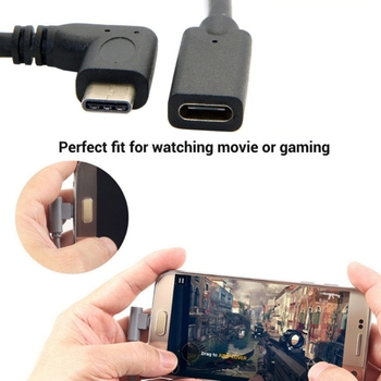 90 Degree Right Angle USB 3.1 Type C Male To Female Extension Data Cable 1m